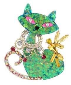Betsey Johnson Granny Chic Crystal Cat Pin