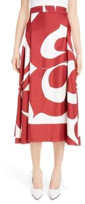 Victoria Beckham Pleated Silk Skirt