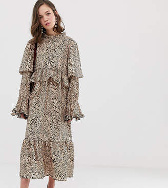 Sister Jane midaxi dress with volume sleeves in dalmation spot
