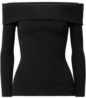 Michael Kors Off-The-Shoulder Ribbed-Knit Sweater