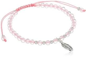 Sterling Silver Rose Quartz Beaded Feather Adjustable Bracelet