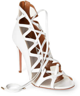 Aquazzura White French Lover Leather Lace-Up Sandals