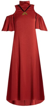 Ellery Deity Cut Out Shoulder Matte Satin Dress - Womens - Dark Red