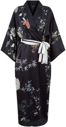 Meng Printed Silk Kimono Robe