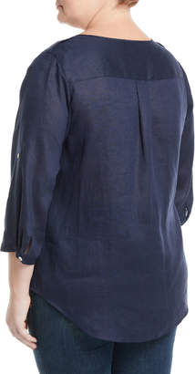 Go Silk Linen Tab-Sleeve Shirt, Plus Size
