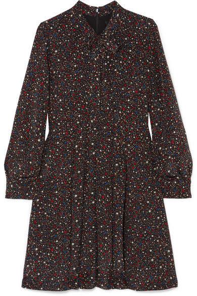 Madewell Printed Silk Crepe De Chine Mini Dress - Black