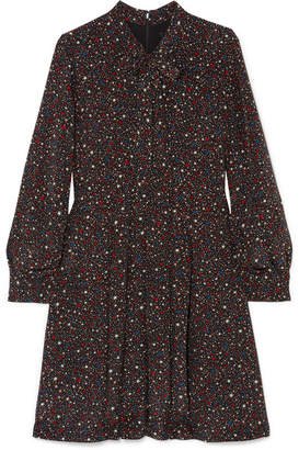 Madewell Printed Silk Crepe De Chine Mini Dress - Black