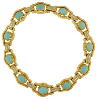 David Webb 18K Yellow Gold & Platinum 36.30 Ct Turquoise Diamond Vintage Collar Necklace