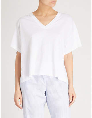 The White Company Oversized side split cotton-blend T-shirt