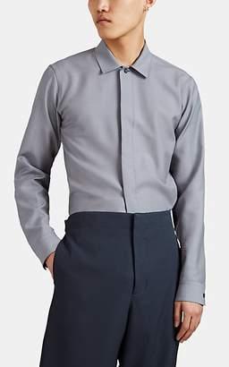 Jil Sander Men's Covered-Placket Overshirt - Gray