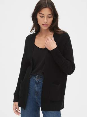 Gap Relaxed Ribbed Open-Front Cardigan Sweater