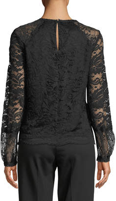 Laundry by Shelli Segal High-Neck Scalloped Lace Blouse