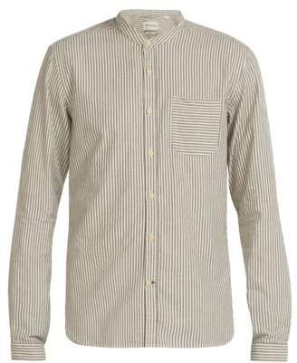 Oliver Spencer Grandad Collar Striped Cotton Shirt - Mens - Beige Multi