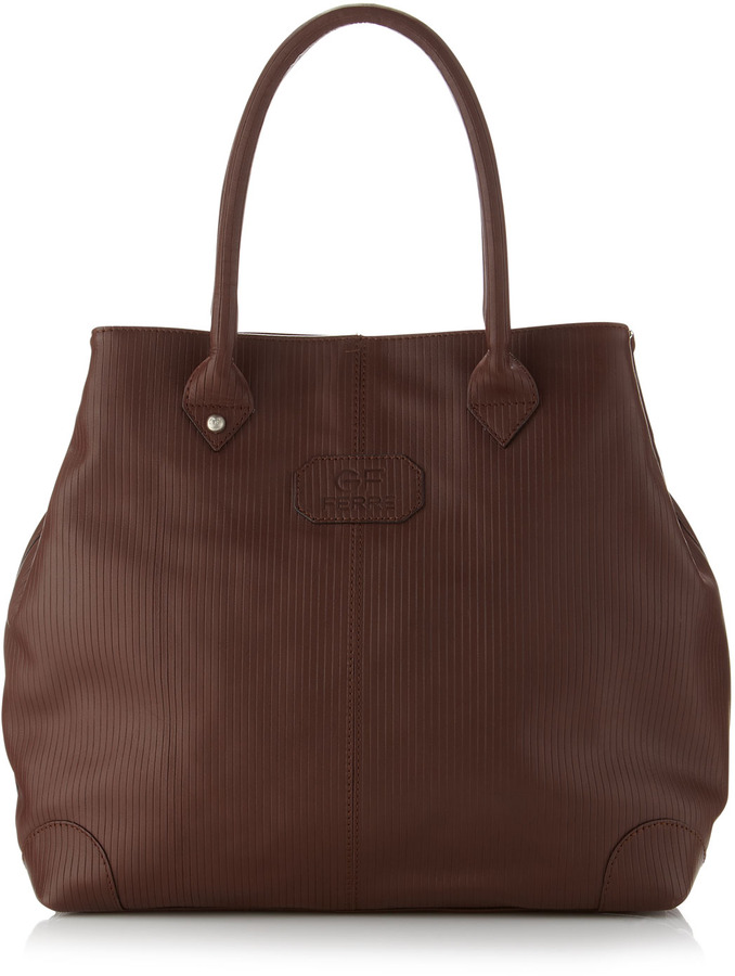Gianfranco Ferre GF Medium Lined Leather Tote Bag, Brown