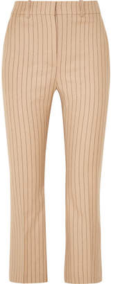 Altuzarra Cropped Pinstriped Wool-blend Flared Pants - Sand