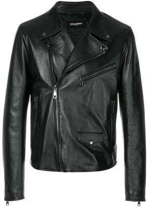 Dolce & Gabbana leopard print biker jacket