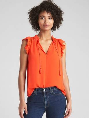 Gap Short Sleeve Ruffle Smock Top