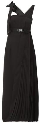 Prada Panelled Pleated Technical Twill Midi Dress - Womens - Black