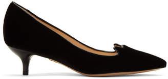 Charlotte Olympia Black Velvet Kitten Heels