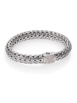 John Hardy Women's Classic Chain Diamond & Sterling Silver Large Bracelet