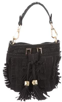 Brian Atwood Suede Fringe Bucket Bag