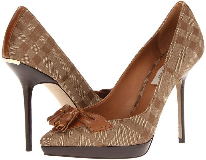 Burberry Check Platform Loafers (Camel) - Footwear