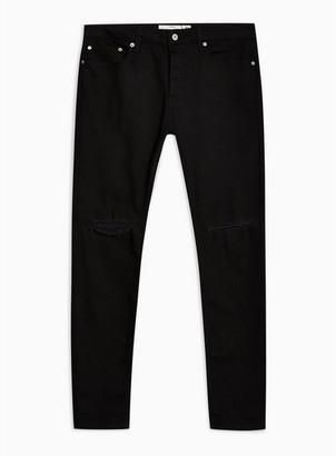 Topman Mens Black Double Ripped Stretch Skinny Jeans