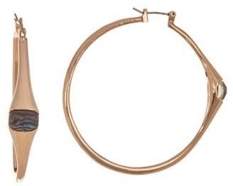 Robert Lee Morris Abalone Stone 50mm Hoop Earrings