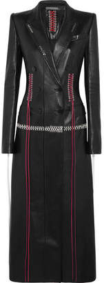 Alexander McQueen - Whipstitched Double-breasted Leather Coat - Black