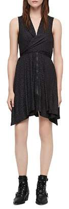 AllSaints Jayda Zip-Front Leopard Print Dress