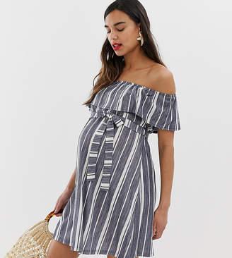 95632cf99c2 Asos DESIGN Maternity off shoulder pique stripe sundress with belt