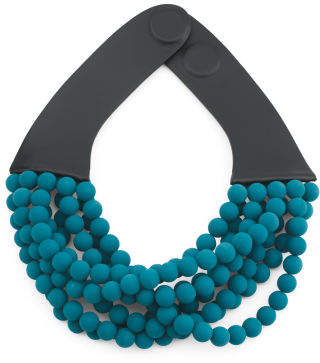 Handmade In Italy Leather Bella Luxe Matte Beaded Necklace
