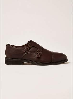 Topman Mens SELECTED HOMME Brown Leather Baxter Monk Shoes