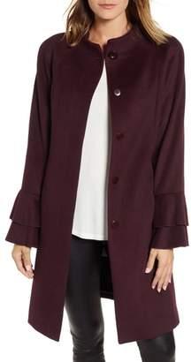 Trina Turk Sara Ruffle Cuff Wool Blend Coat