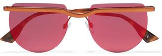 Le Specs - Mafia Moderne Round-frame Copper-tone Sunglasses - Red $90 thestylecure.com