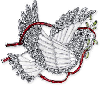 Charter Club Holiday Lane Silver-Tone Crystal & Epoxy Peace Dove Pin