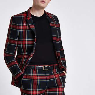 River Island Mens Red check skinny fit blazer