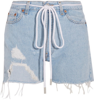 Off-White - Distressed Denim Shorts - Light denim $330 thestylecure.com