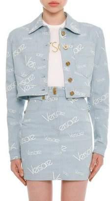 Versace Button-Front Cropped Denim Jacket