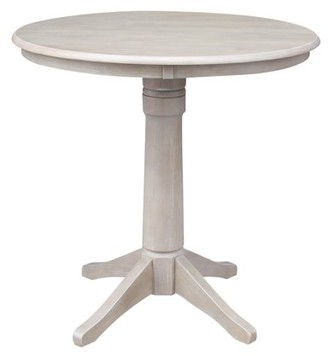 "INC International Concepts Round Top 36"" x 36"" Solid Wood Pedestal Dining Table in Washed Gray Taupe"