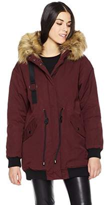 Co Women's Winter Jacket with Faux Fur Body Lining and Detachable Hood Fur Trims and Print