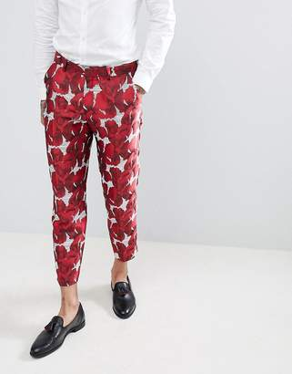 Asos Edition EDITION skinny crop suit pants in red floral jacquard