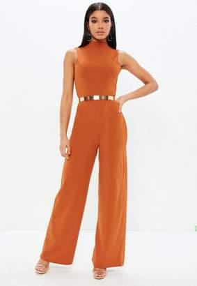 Missguided Orange High Neck Wide Leg Open Back Romper