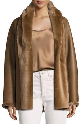 Vince Shawl Collar Reversible Shearling Coat