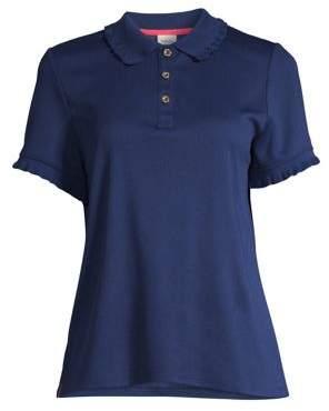 Rafaella Ruffled Knit Polo Shirt
