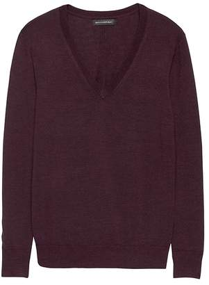 Banana Republic Washable Merino Wool Boyfriend V-Neck Sweater