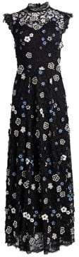 Lela Rose Women's Resort High-Neck Lace Flare Dress - Navy Black - Size 8