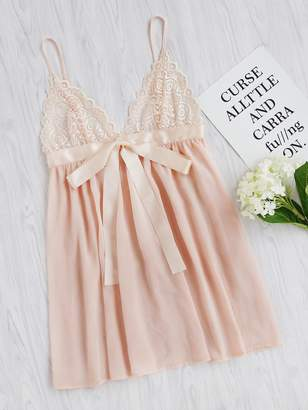 Shein Lace Cup Sash Detail Babydoll Slip Dress