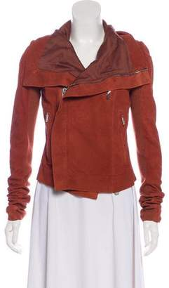 Rick Owens Wool-Trimmed Leather Jacket w/ Tags