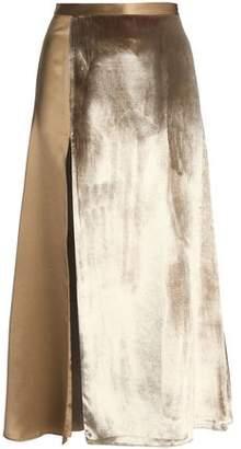 Michelle Mason Split-Front Paneled Velvet And Silk-Satin Midi Skirt